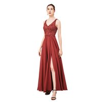 Evening Dresses, Sheer Sequined Lace Bodice Chiffon Skirt Formal Prom Wedding Party Gowns that Hide Belly Fat with keyhole and Side Split Skirts