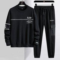 Chándal de los hombres Marca Marca Más Tamaño Tamaño Hombres Streetwear Black Letra Sudaderas impresas + Pantalones 2 piezas Sets Jogger Sweat Suits 8XL