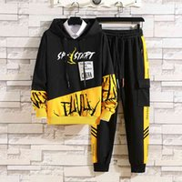 Men's Tracksuits fashions set in spring fall pants elastic waistband plus long sleeve sweater casual male sweatpants printed together G429