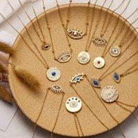 Collana moda lady party dorato blu occhio a forma di occhio sagomato ovale vending pendente occhi malvagi