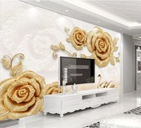 Bacal wallpaper 3D stereo photo mural exquisite European golden rose luxury flower pearl light TV background wall papers decor