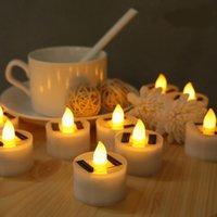 Сторона украшения 6 штук солнечные излишковые светодиодные свечи поддельные меменные чаевые огни на открытом воздухе сад светлая романтическая свадьба