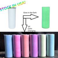 ABD hisse senetleri! 20 oz UV ve Glow Tumbler Süblimasyon Düz Sıska Tumblers 2-Katmanlı Vakum Yalıtımlı Renk Değiştirme Su Şişesi Işık TNE Koyu Araba Kupa DIY Kahve Fincan