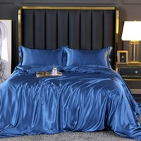 2021 Hot-Selling European-style Solid Color Bedding Sets Silk Satin Bed Fitted Sheet 4 Pieces Duvet Cover