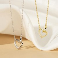 Chains Women Choker Zircon Love Heart Circle Pendant Necklace Gold Silver Color Shiny Necklaces Gift For Girl