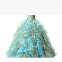New Real Photo Sexy Mint Blue and Gold Quinceanera Dresses 2017 Ball Gown With Ruffle Sequins Sweet 16 Prom Pageant Party Gowns QC121
