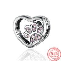 Belle 925 Hearts Sterling Argent Hearts Patte Imprimer Pangle J'aime mon animal de compagnie Charme Fit Pandora Bracelet DIY Collier Pendentif pour animaux de compagnie
