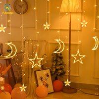 أدى القمر ستار سلسلة ضوء ضوء 110 فولت 220 فولت الجنية أضواء عيد الميلاد ستارة مصباح في الهواء الطلق داخلي للمنزل حفل زفاف الديكور