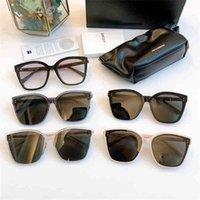Gafas de sol de moda 2021 Marca de diseño coreano Gentle Cat Eye Sunglass Hombres de gran tamaño Gafas de sol para las mujeres GM GABEE con estuche