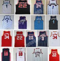 Трейси 1 McGrady 22 Clyde Drexler Джерси Черный красный 34 Хейтем Olajuwon Белая синяя полоса 3 Стив Фрэнсис Баскетбол Майки ретро