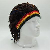 Beanie Skull Caps VS&LLWQ Funny Hat Unisex Beanies Wig Braid Hats Jamaican Knitted Rasta Hair Cap Men And Women Fashion Hairband Dreadlocks