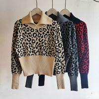 레오파드 패턴 여성 슬림 니트 스웨터 의류 높은 목 긴 소매 스웨트 패션 브랜드 풀 오버 여성을위한
