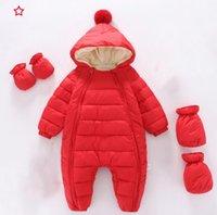 2021 Newborn Baby Rompers Hooded Plus Velvet Warm Boys Snowsuit Toddler Snow Suit Girl Cotton Overalls umpsuits 24 M