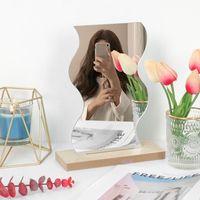 Нерамное декоративное тщеславие столовое зеркало для столенного настольного скошенного макияжа зеркала спальни гостиной и минимальные аксессуары для ванны JS23