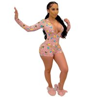 Jumpsuit Home Outfits Playsuit Summer Deep V Neck Long Sleeve Biker Shorts Bodycon Rompers Womens Fitness Sports Ice Cream Print