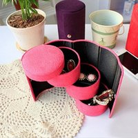 Jewelry Pouches, Bags 1PC 3-layer Box Necklace Earring Ring Holder Organizer Display Gift Cylindrical Boxes 4 Colors