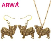 Earrings & Necklace ARWA Alloy Antique Gold Plated Papillon Dog Jewelry Sets Metal Pets Accessory For Women Girls Kid Charms Gift