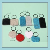 Event Festive Party Supplies Home & Gardenparty Favor Pu Leather Sublimation Sequin Keychain 5 Shapes Diy Glittery Keyring (Back Is White) H
