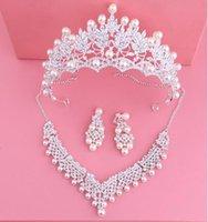 Earrings & Necklace Bride Crystal Pearl Costume Jewelery Sets Design Rhinestone Choker Crown Tiara Bridal Women Wedding