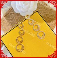 Kadın 925 Ayar Gümüş Küpe Moda Altın Kulak Çiviler Lüks Tasarımcılar Püskül Küpe Bayan Takı Mektup F Elmas Küpe Aretes