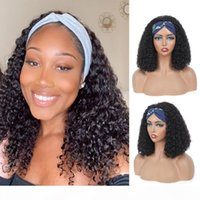 100% Human Hair Grip Headband Scarf Wig Water Wave Human Hair Wig No plucking wigs for Women No Glue Sew In