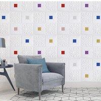 Wallpapers 3D adesivo de parede estéreo painel telhado decoração espuma papel de parede auto-adesivo à prova d 'água diy sala de estar decoração tevê fundo
