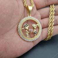 Iced Out Bling Gold Color Lovers Couple Pendant Necklace Fashion Boys Girls Necklaces Jewelry For Women Stainless Steel Chain
