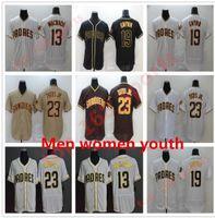 Custom 2021 Мужчины Женщины Молодежные дети 19 Тони Гвинн Джерси Сан-Диего 13 Мэнни Мачадо 23 Фернандо Татис младший Flex Base Cool Padres Бейсбол