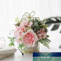 Fleur de bouquet de pivoine en soie avec des arrangements de vase dans un vase en verre pour un bureau de mariage maison bureau de mariage décor artificiel fleur