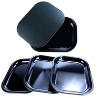 18*14cm Black smoking rolling tray with magnetic lid Tobacco storage trays plain color cigarette plate metal smoke accessory