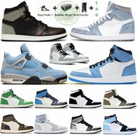 1 High OG Travis Scotts Dark Mocha Hyper Royal 1s Scarpe da basket Obsidian UNC Mid Smoke Grey Twist Scarpe da ginnastica da uomo Jumpman 4 Pink Sneakers con scatola