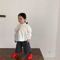 Milancel Spring детская блузка белая рубашка слоеного рукава 210802