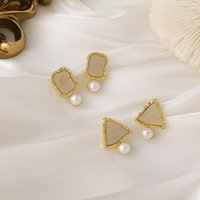 Stud Korean Cute Geometric Square Triangle Earrings With Imitation Pearl Women Girls Fashion Gold Color Earings Summer Jewelry