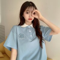 Polo Short Sleeve T-shirt Women's Fashion in 2021 Summer Student Korean Loose Half Western Style Clothes