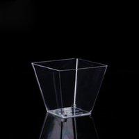 9oz plastkopp 270ml Clear Square Disposable Dessert Cup Festival Bröllopsdekoration Kaka Mousse Jelly Pudding Tiramisu CCF6981