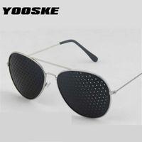 الفاخرة مصمم النظارات الشمسية yooske الرجعية الثقب للنساء الرجال الثقوب الصغيرة نظارات الرؤية نظارات الرؤية للجنسين البصر المعدل 0622