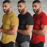 T Shirt Fashion StyleT-Shirt Extended Street clothing Curved Hem Long line Tops Tees Hip Hop Urban Blank Basic
