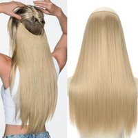Synthetic Wigs No Clip Wave Halo Hair Natural Black Blonde One Piece False Hairpiece Fish Line Fake