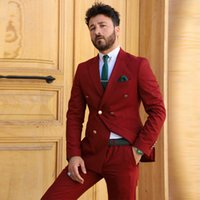 2 Pieces Business Casual Red Tuxedos Double Breasted Custom Made Slim Suit Fit Groom Party Coat Tailored Work Wear