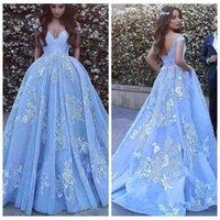 2021 New Off Spalla in pizzo Applique Ice Blue Blue Gown Prom Dress Dubai Arabo Personalizzato Personalizzato Serata Tinceanera Abiti da festa