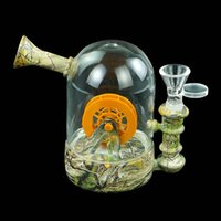 Glass bong Smoking water pipes 4.8'' hookah Waterwheel silicone bongs Dab Rig with Printing