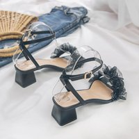 Sandals 2021 High Heeled Shoes Women's Fairy Style Mid Heel Roman With Lace Sweet