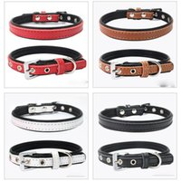 Dog Collars & Leashes 120pcs lot Cute Pets Adjustable PU Leather Puppy Pet Necklace Collar Dogs Cat