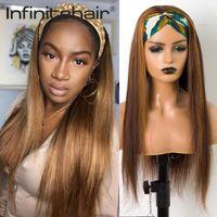 Brésilien souligne droit bandeau droite Scarf sans gluge Remy Cheveux humains Machine pleine perruque pour femmes noires Dentendante Dentelle
