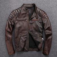 Gu.seemio Vintage Hommes Vestes en cuir Ville en cuir de vachette moto moto motard Vêtements manteau en détresse Collier