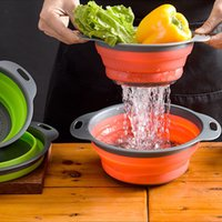 Folding Strainer Bowl Outdoor Camping Tableware Sets Silicone Folding Colander Strainer Draining Bowl Portable Camping Cookware 269 B3