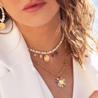 Luxurys Necklace Designers Opal Jewelrys Designer Jewelry Colorful Women Gold Large Pearl Necklaces Fashion Heart Star Smile Face Gift Good Nice