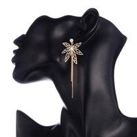 Zircon Butterfly Long Drop Earrings For Women Gold Color Alloy Female Dangle Hanging Earring Fashion Ear Jewelry Brincos 2021 & Chandelier