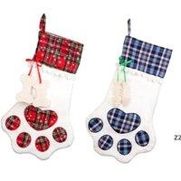 Christmas Stocking Monogrammed Pet Dog Paw Gift Bag Plaid Christmas Tree Ornaments Xmas Decorations Party Decor 8 Styles HWF10295