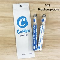 Cookies Disposable Vape Pens 1ml Empty Glass Tanks 400mAh Rechargeable Battery Thick Oil Cartridges Vaporizer Ecigs Pen Ceramic Coil Carts with Packaging Bags